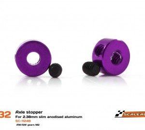 Stoppers, Scaleauto, Slim M2 Alumínio para eixos 2.38mm. Anodizado em violeta