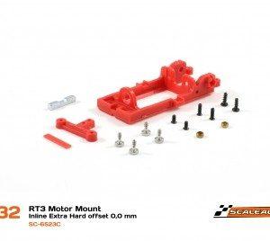 Suporte, Scaleauto, motor inline RT3 Offset 0,0 extra-hard (Vermelho)