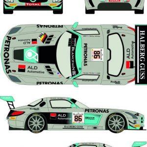Decalque, Racing Decals 43, completo para 1/24 Mercedes SLS GT3 nº 86 Total 24h of Spa 2014