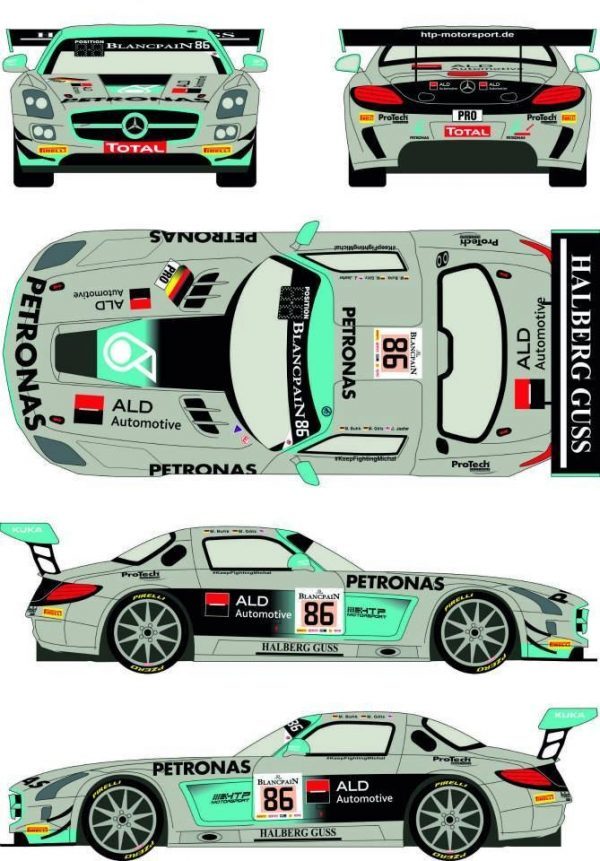 Decalque 1/24 Mercedes SLS GT3 nº 86 Total 24h of Spa 2014