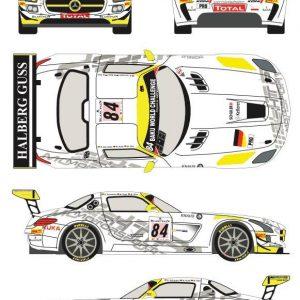 Decalque, Racing Decals 43, completo para 1/24 Mercedes SLS AMG GT3 nº 84 24 Horas Spa Francorchamps 2013