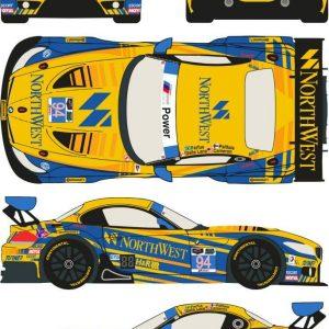 Decalque, Racing Decals 43, completo para BMW Z4 GT3 nº 94 Northwest 24 Horas Daytona 2014