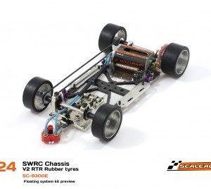 Chassis, Scaleauto, SWRC 1/24 V.2 RTR c/Rodas de Borracha. Base em Aço 1.5mm & distância entre eixos de 93 a 111mm