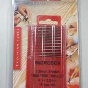 Brocas, Tool Box, em aço 0.5 – 2.2 mm caixa 10 unidades para eixos 2.38 mm