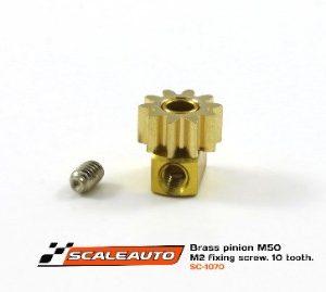 Pinhão em latão, Scaleauto, 10d. M50 para Eixos 2.38mm de 6.5mm fixação p/parafuso