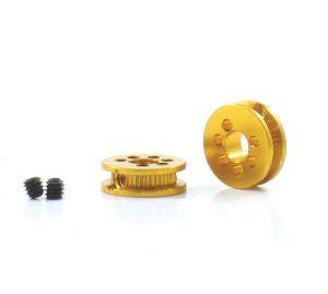 Polia, Scaleauto, alumínio mecanizado 6.5mm eixo 3mm. Dourada