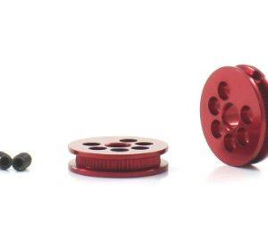 Polia, Scaleauto, alumínio mecanizado 10mm eixo 3mm. Vermelha