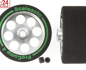 Roda de espuma, Scaleauto, 27.5x13mm Procomp-4 para eixo 3mm.. Jante ø21mm