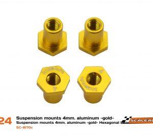 Casquilhos, Scaleauto, sujeição H 4mm alumínio dourado com cabeça hexagonal