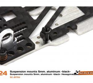 Casquilhos, Scaleauto, sujeição H 5mm alumínio preto com cabeça hexagonal