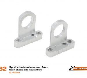 Suporte, Scaleauto, eixos 9mm Chassis Sport em alumínio CNC