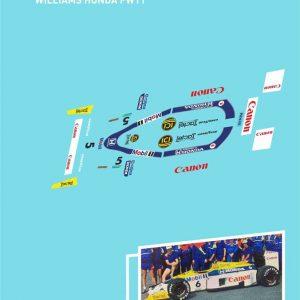 Decalque, Atalaya Decals, completo p/NSR F1 86-89 Williams Honda FW11