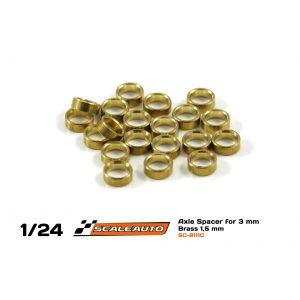 Espaçadores, Scaleauto, de eixo de 3mm em bronze 1.5mm
