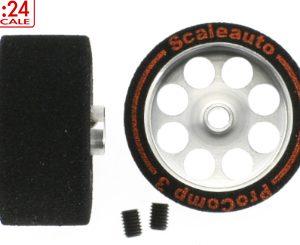 Roda de espuma, Scaleauto, 26.4 x 13mm Procomp3 para eixo 3mm. Jante ø21 & parafuso M3