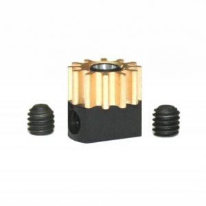 Pinhão em latão 12d. M50 para Eixos 2.38mm de 6.5mm fixação p/parafuso