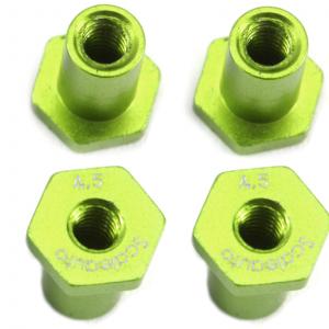 Casquilhos, Scaleauto, sujeição H 4,5mm alumínio verde com cabeça hexagonal